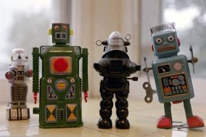 Four toys related to robotics that people may remember from childhood