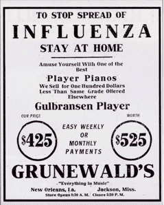 Sign from 1918 telling people who are sick with the flu to stay home. Image courtesy of The Historic New Orleans Collection