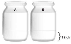 Two jars with one inch of water.