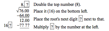 Square root example