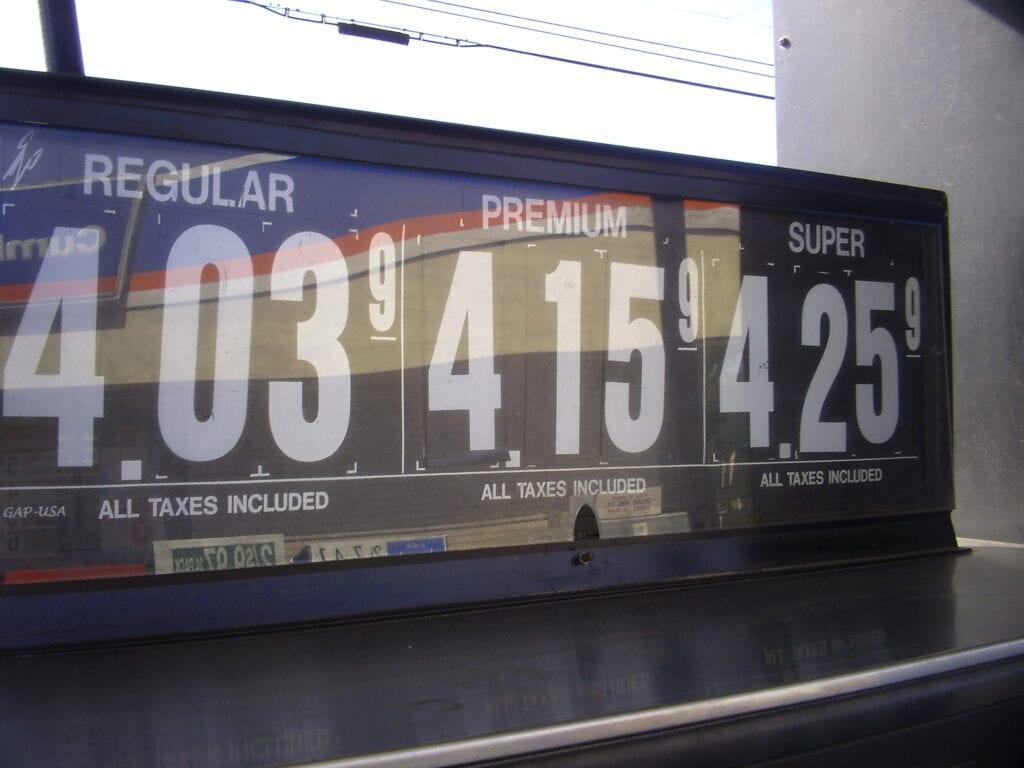 Gas prices showing decimals.