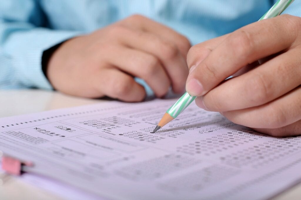 Student taking a test.