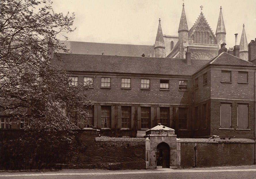 Ashburnham House, part of Westminster, one of England's original public schools, from an 1880 photograph.