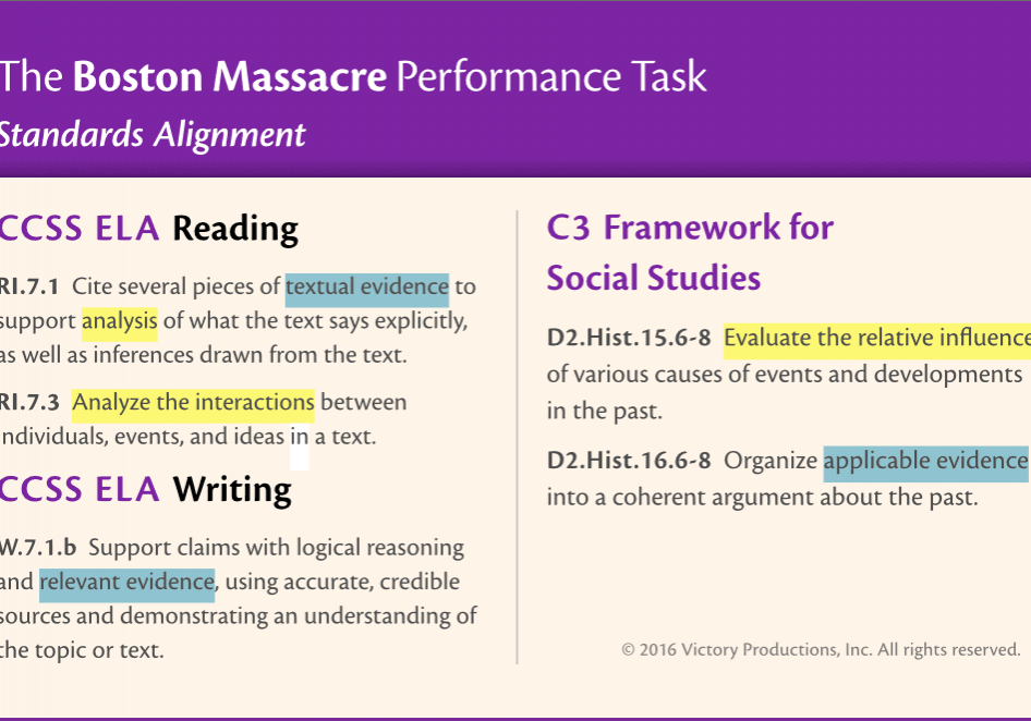 The C3 framework, CCSS standards, and other state and national efforts to align learning expectations to 21st Century workforce demands are emphasizing critical analysis and evidence from text.